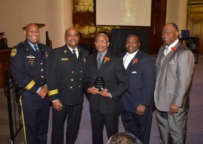 Deptuy Chief Tyrone Garner, Assitant Chief Morris Letcher, Dr. George Smith, Judge Timothy Dupree, Rev. Robert Milan Jr.