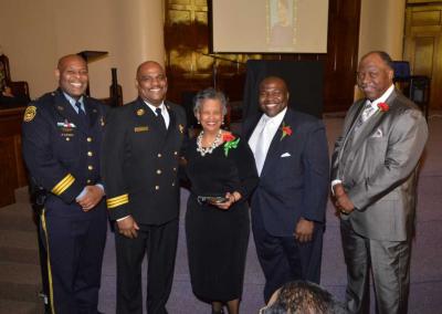 Deptuy Chief Tyrone Garner, Assitant Chief Morris Letcher, Mrs. Ezola Johnson, Judge Timothy Dupree, Rev. Robert Milan Jr.